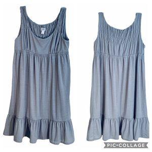 LOFT Gray Babydoll Dress Sleeveless Ruffle Hem